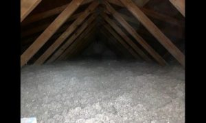 Attic filled with blown-in insulation