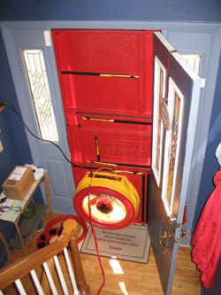 Blower door test for Waunakee homes